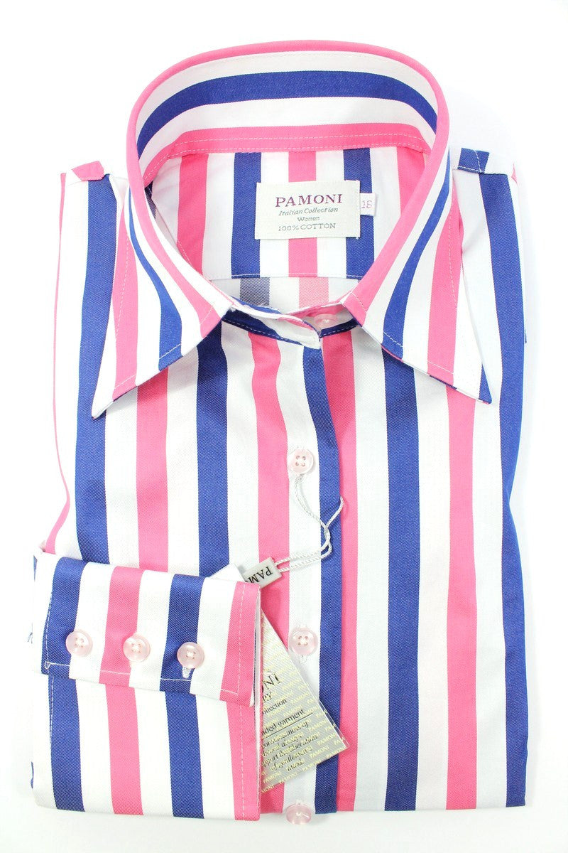 Pink Blue Bold Stripe Fitted Shirt