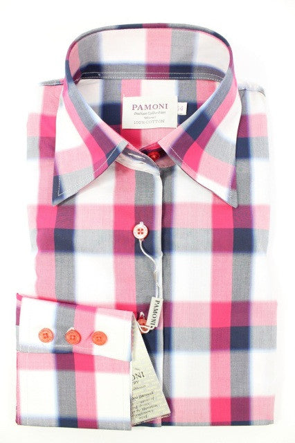 Pink Navy & Grey Check Fitted Shirt