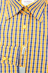 Blue Yellow Check Fitted Shirt