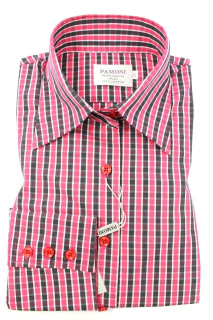 Pink Grey Check Fitted Shirt