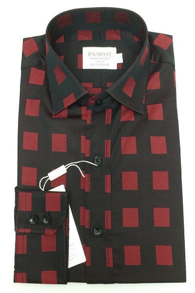 Black Burgundy Square Slim Fit Shirt