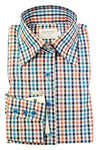 Blue Orange Check Fitted Shirt