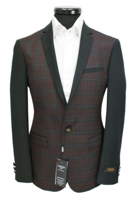 Burgundy Check Blazer
