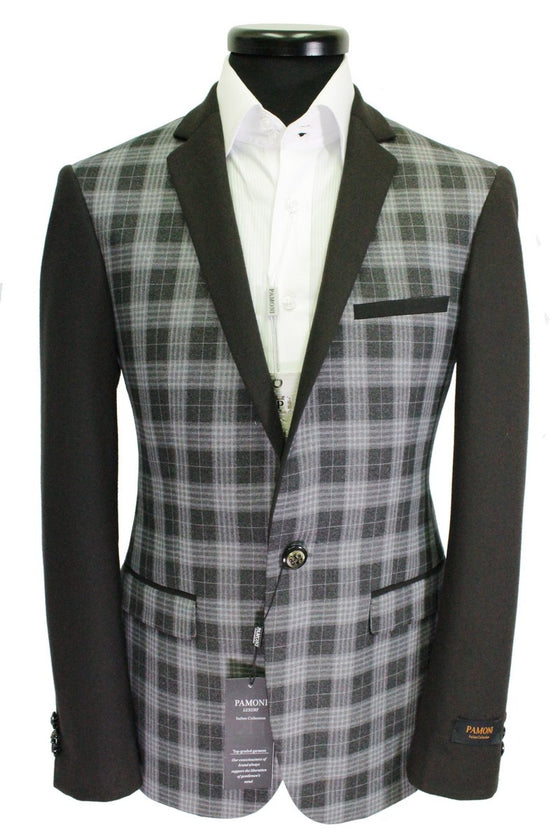 Grey Check Wool Blend Blazer