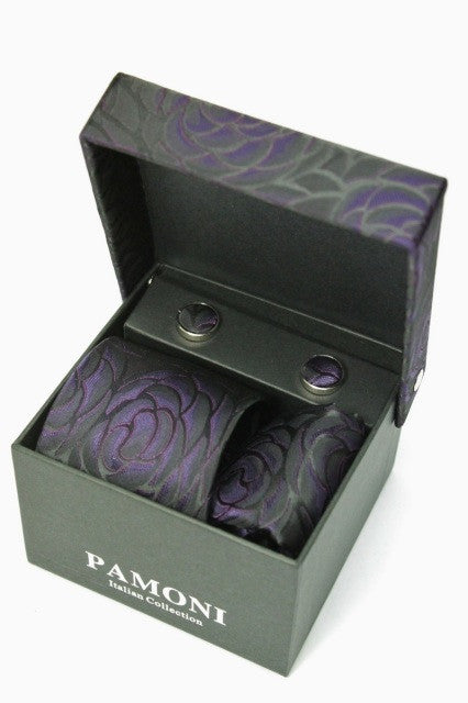 Black & Purple Flower Tie & Cufflinks Set