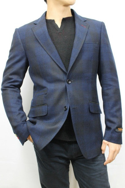 Navy Check Twill Jacket