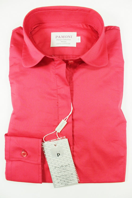 Red Curved Collar Fitted Shirt