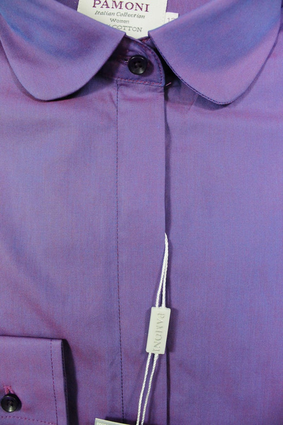 Purple Curved Collar Fitted Shirt