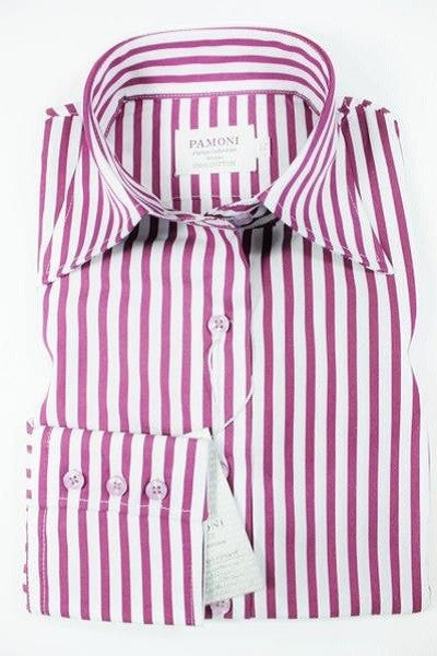 White & Maroon Stripe Fitted Shirt