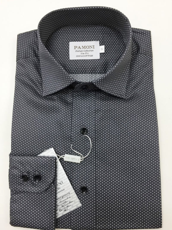 Grey Dotted Print Slim Fit Shirt