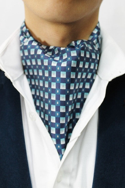 Light & Dark Blue Squares Design Cravat