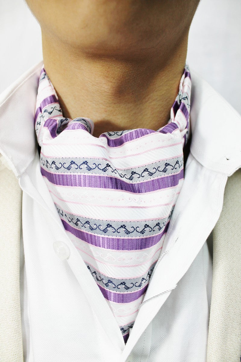 White, Purple & Grey Striped Novelty Design Cravat