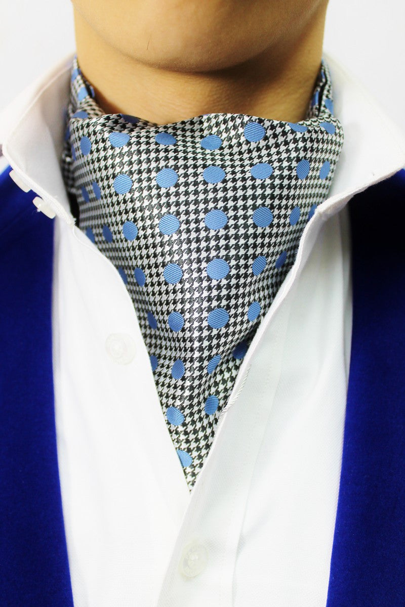 Light Blue Spots on Dog-tooth background Cravat