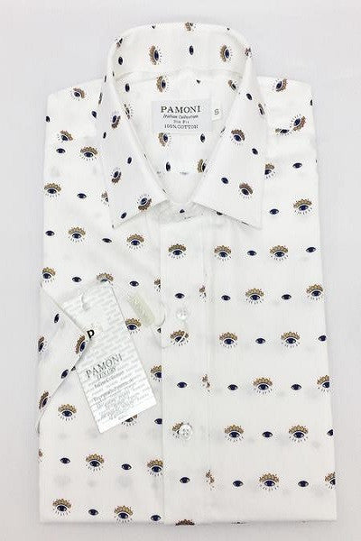 Plain White With Eye Design Print Short Sleeves Shirt