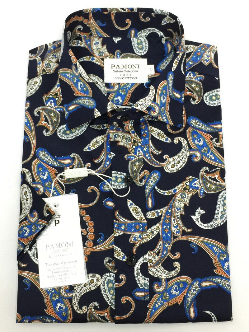 Navy Paisley Design Short Sleeves Shirt