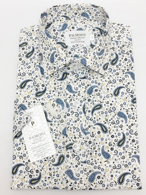 White Paisley Design Short Sleeves Shirt
