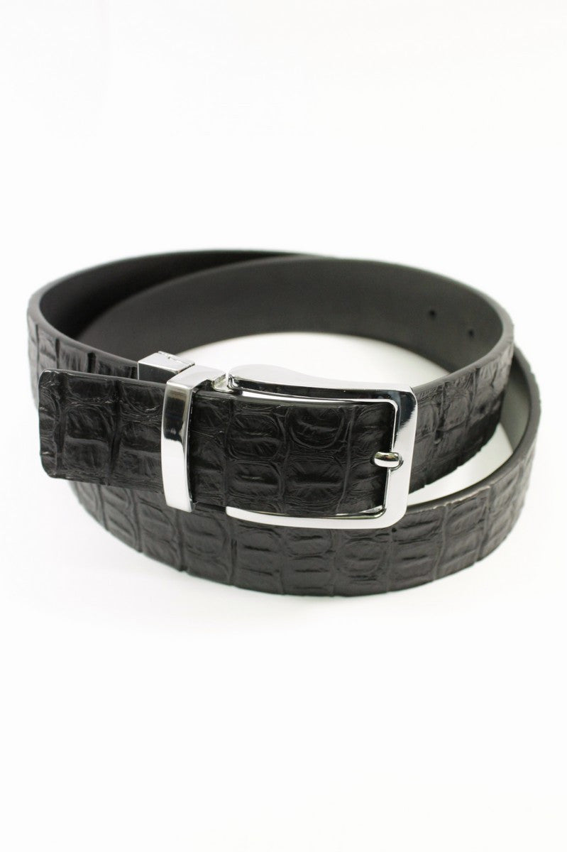 Black Crocodile Skin Belt