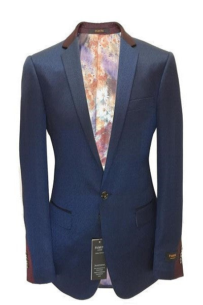 Navy With Maroon Detailing Slim Fit Blazer