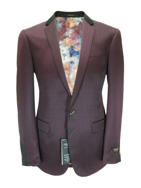 Maroon With Black Detailing Slim Fit Blazer