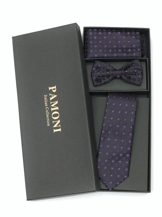 Black Purple Flower Tie & Bow Tie Set