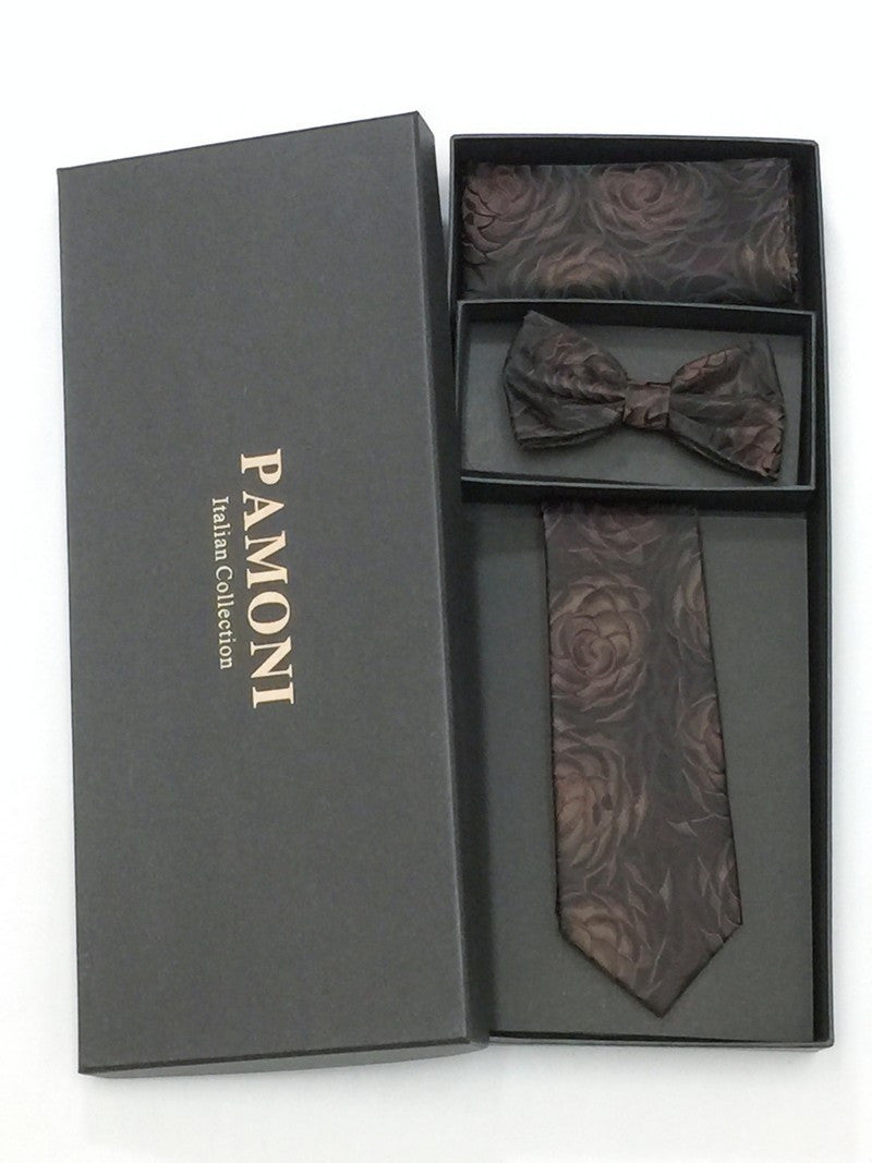 Brown Floral Tie & Bow Tie Set