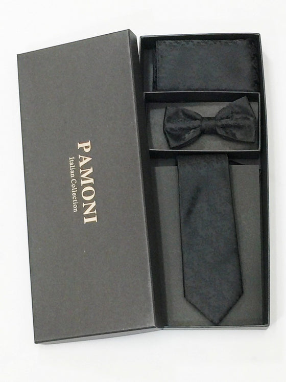 Black Paisley Tie & Bow Tie Set