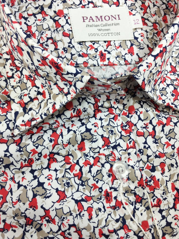 Red & White Floral Print Fitted Shirt