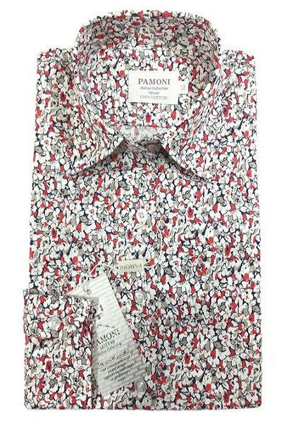 bd191e5d628 Red   White Floral Print Fitted Shirt - Better Look Shop