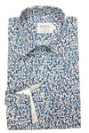 Blue & White Floral Print Fitted Shirt
