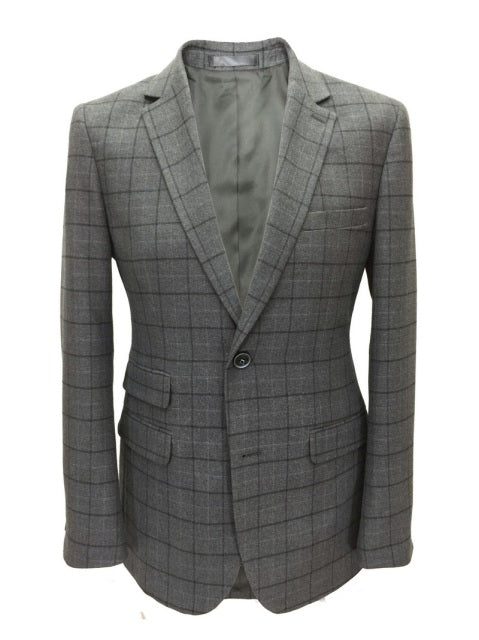 Grey Check Tweed-Blazer