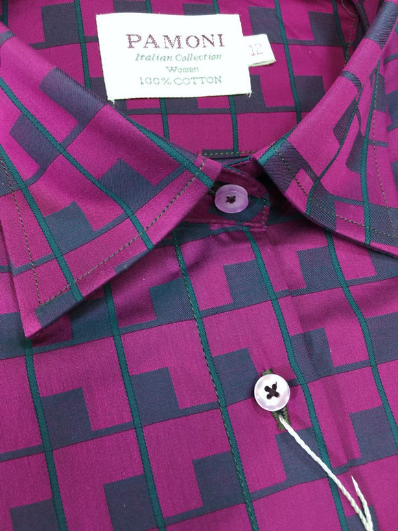 Purple Block Check Fitted Shirt