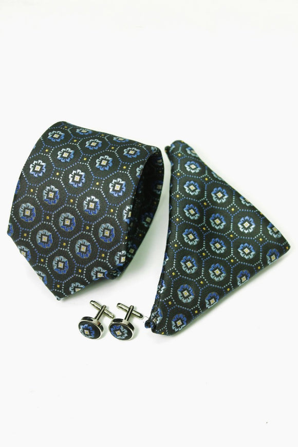 Black & Blue Flower Design Tie & Cufflinks Set