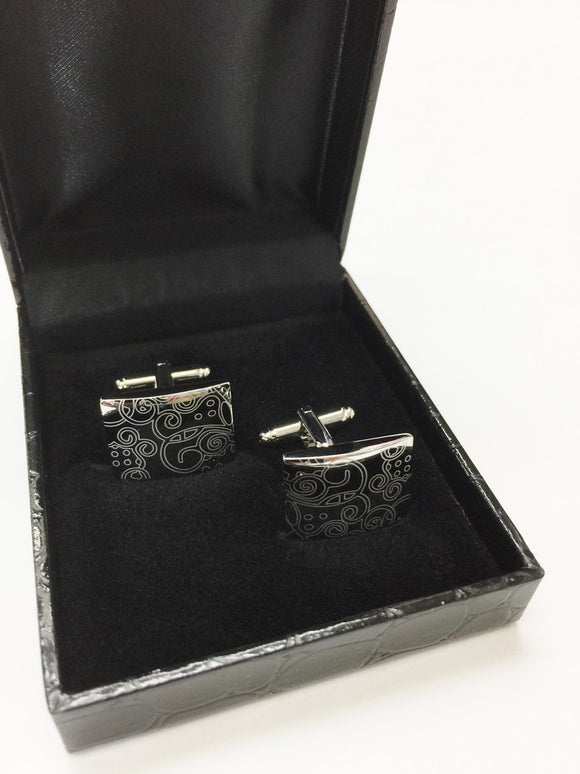 Silver Rectangle Floral Design Cufflinks