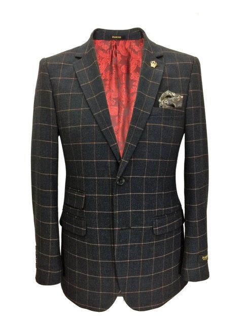 Charcoal Grey Check Tweed Blazer