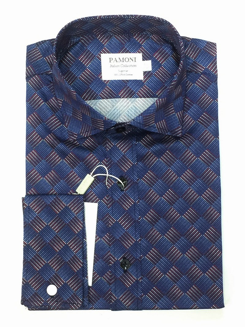Navy Red Square Design Slim Fit Shirt