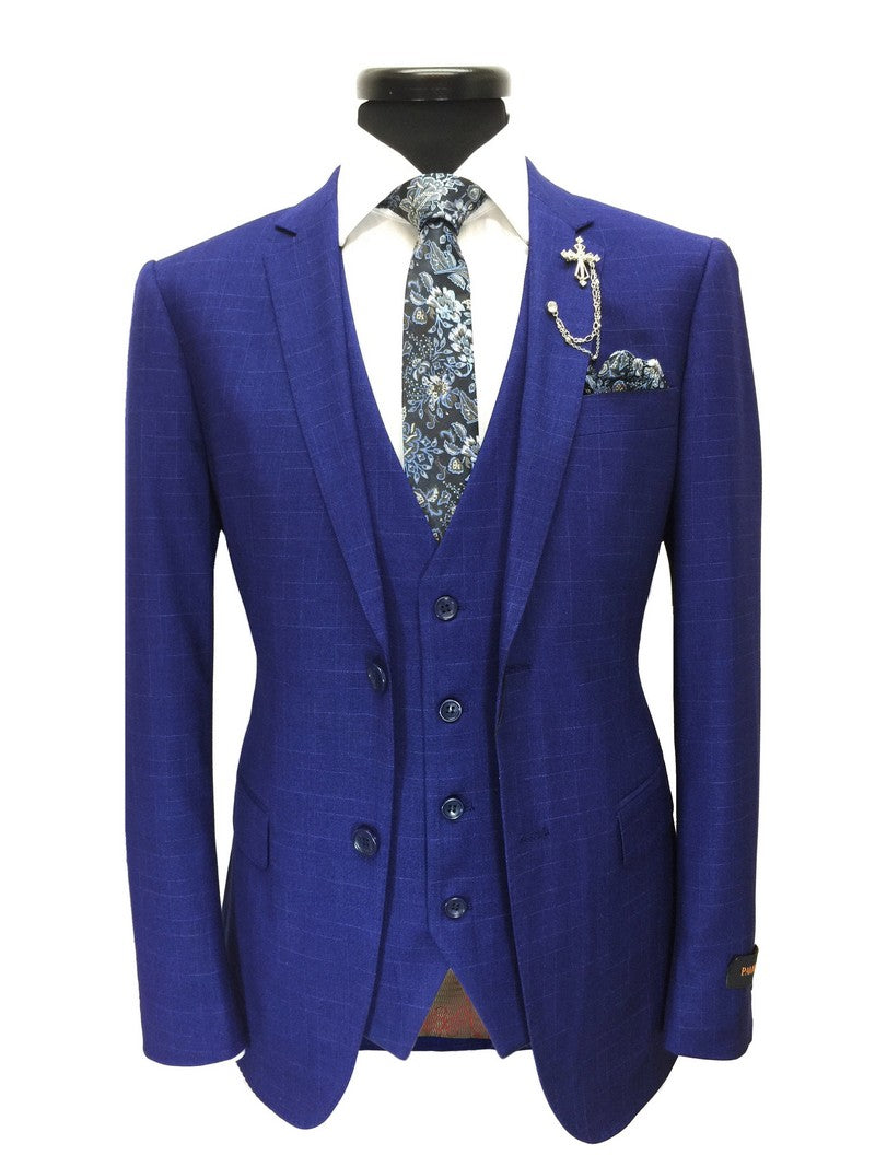 Royal Blue Textured 3-Piece Suit