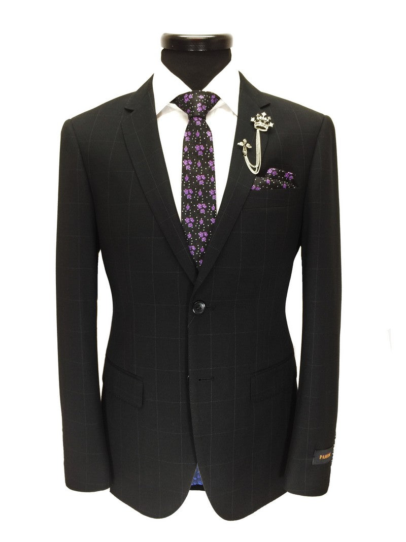 Black Check 2-Button Slim Fit Suit