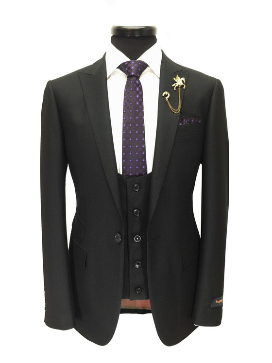 Black Textured One Button 3-Piece Suit