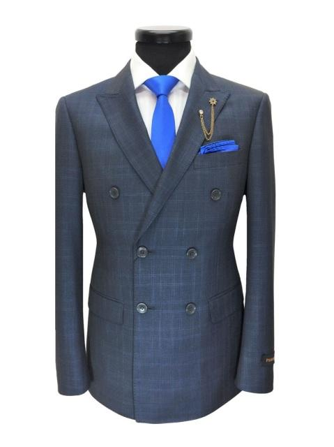 Grey/Blue Prince Of Wales Check Double Breasted Suit
