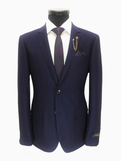 VIOLET BIRDSEYE 2-BUTTON SLIM FIT SUIT