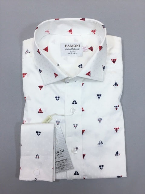 WHITE TRIANGLE PRINT SLIM FIT SHIRT