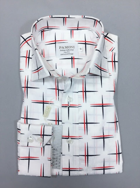 WHITE NAVY/RED CROSS DESIGN SLIM FIT SHIRT