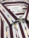 WHITE MAROON BOLD STRIPE SLIM FIT SHIRT