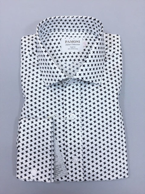 WHITE BLACK DOGTOOTH SLIM FIT SHIRT