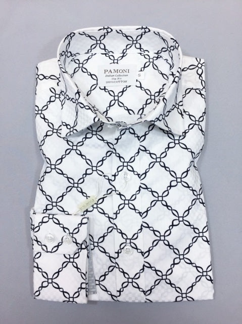 WHITE CHAIN PATTERN SLIM FIT SHIRT