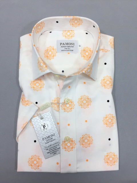 WHITE ORANGE FLOWER PRINT SHORT SLEEVES SHIRT