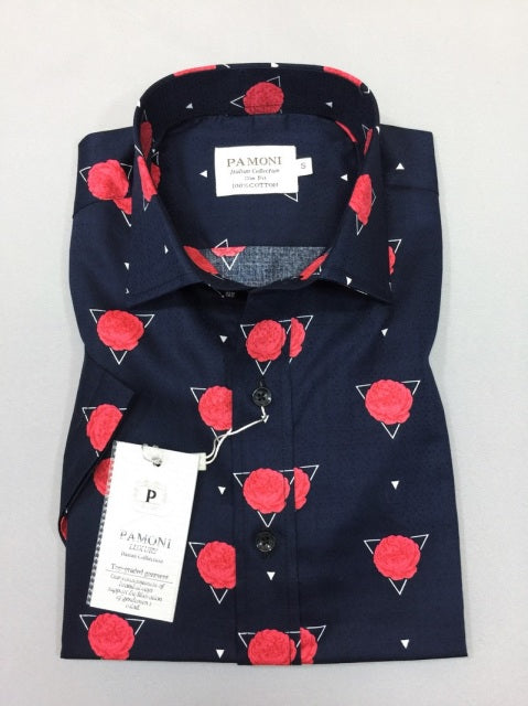NAVY RED FLOWER PRINT SHORT SLEEVES SHIRT