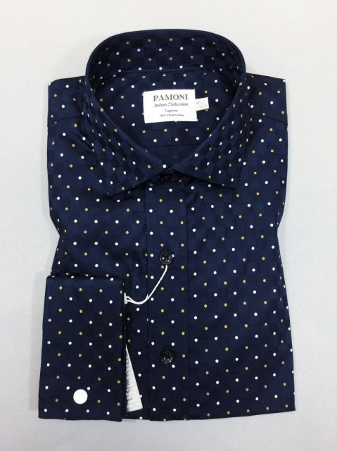 NAVY WHITE/BROWN DOTS SLIM FIT SHIRT
