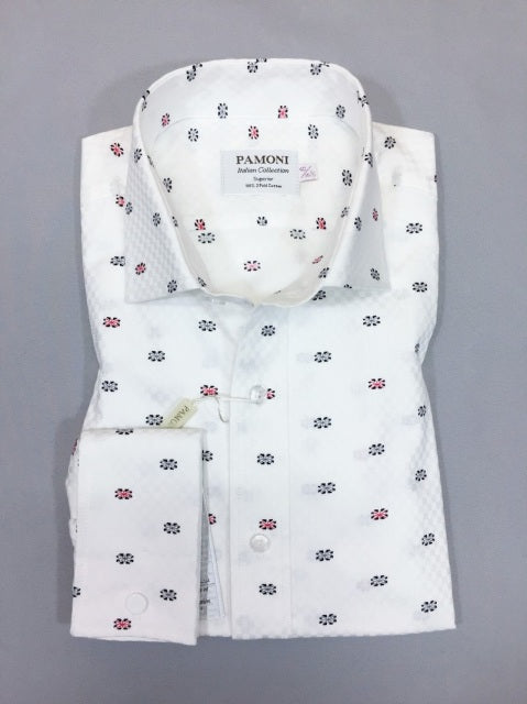 WHITE FLAG PRINT SLIM FIT SHIRT