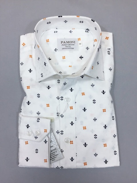 WHITE NAVY/ORANGE SYMBOL PRINT SLIM FIT SHIRT